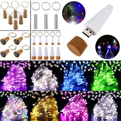 Battery Bottle Fairy String Lights USB Solar Rechargeable Cork Wedding Party Led