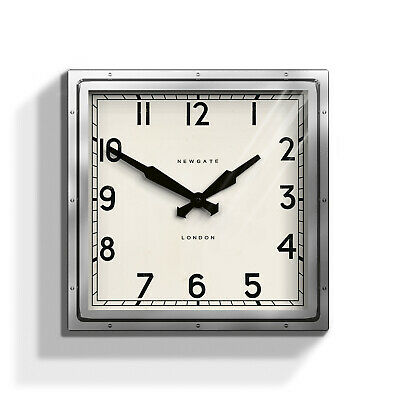 Extra Large Silver Square Metal Analogue Wall Clock Industrial Living Room 40cm