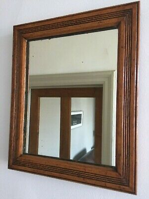 Vintage Oak Wall Mirror Reeded Wooden Original Foxed Glass Back Small 31cm m126