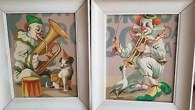 """Antique Vintage Oil on Board Circus Clowns Painting Set of 2, 18""""x15"""""""