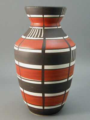 Carstens-Tonnishof West German Vase 607-25 Stripes & Checks Mid-Century Modern