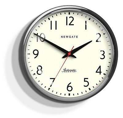 Large Round Silver Silent Sweep Newgate Wall Clock Convex Glass Dial 40cm