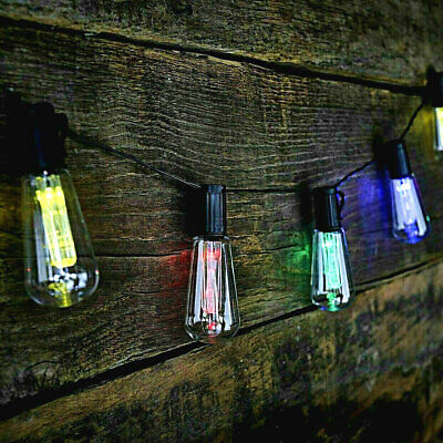 10x LED Solar Powered Vintage Edison Bulb String Lights Garden Outdoor Retro