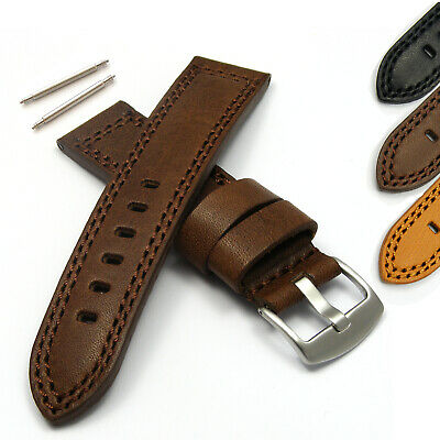 Genuine Leather Men's Watch Strap Band Vintage Water Resistant Upper 20-24mm