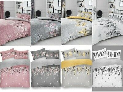 Feather Duvet Cover Set With Pillowcase Easy Care Quilt Reversible Bedding Set