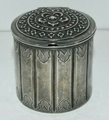 Antique Silver Victorian Lidded Container Vessel Brunei Southeast Asia Marked