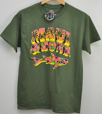 fd80d49b7828 MAUI AND SONS Neon Shark Logo T Shirt size small Military Green New with  tags