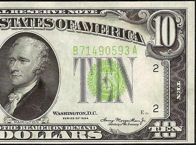 Unc 1934 $10 Dollar Bill Lgs Light Green Seal Federal Reserve Note Paper Money