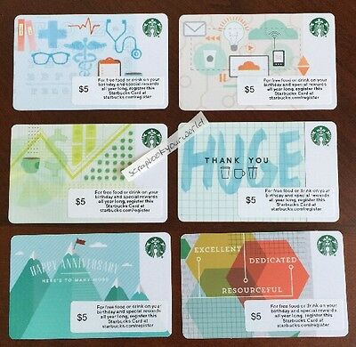 2015 STARBUCKS Corporate Gift Card Cards * 6 DIFFERENT * NEW Cond Health IT $