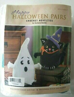 Herschners Happy Halloween Pairs Crochet Novelties Kit Ghost and Cat