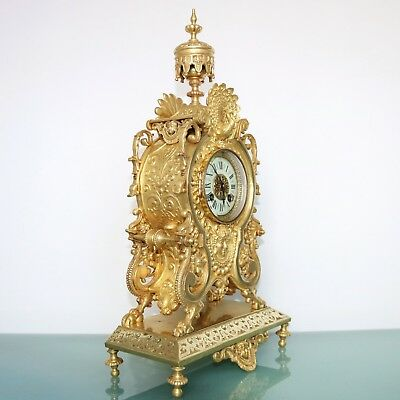 French MARTI Antique Mantel Clock 1880's GILDED BRONZE Chime Neuchatel Console!