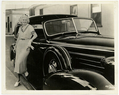 Casual Jean Harlow Posed w/ Car 1932 Vintage Golden Age of Hollywood Photograph