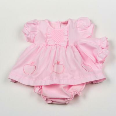 Baby Girl smocked Dress Hat Pant set Spanish style Pink  floral Newborn-6months