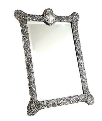 Fine English Victorian Sterling Silver Leather & Wood Mount Mirror Table, 1903
