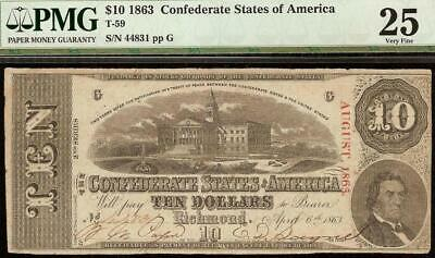 1863 $10 Dollar Confederate States Of America Currency Civil War Note T-59 Pmg