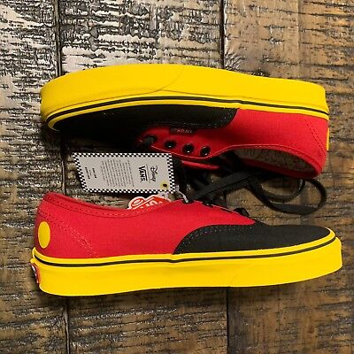 d83108e4cd VANS AUTHENTIC X Disney Mickey Mouse Red Yellow Black Men 3.5 Women ...