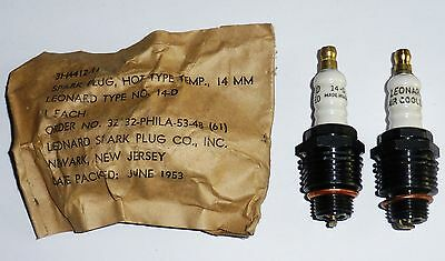 4 bougies SPARK PLUG 14D LEONARD AIR COOLED NOS IN US ARMY BAG