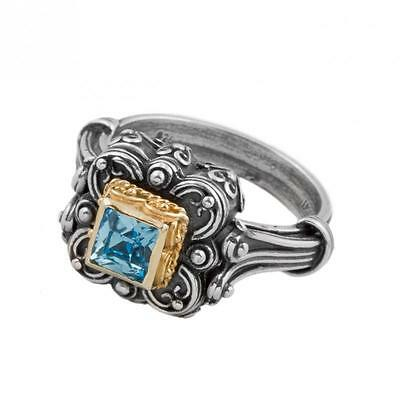 D254 ~ Sterling Silver & Swarovski Medieval Single Stone Ring