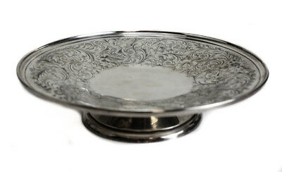 """Birks Sterling Silver 10"""" Pedestal Plate Tray Compote, Floral Etched"""