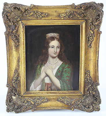 19th C. Oil Miniature Painting on Tin Portrait of Princess Nobility Crown Pearls