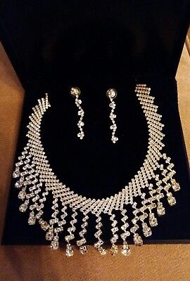 Silver diamante bridal crystal necklace and earring set.  New. Wedding.