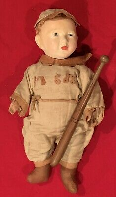 Antique Circa 1910 Boston Red Sox Porcelain Baseball Player Doll w bat Early Old