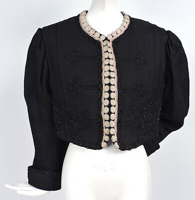 Gothic Antique Victorian 19Th C Crop Jacket For Dress W Braid Details