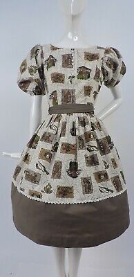 Vintage 1950'S Novelty Print Cotton Dress With Wild West Theme