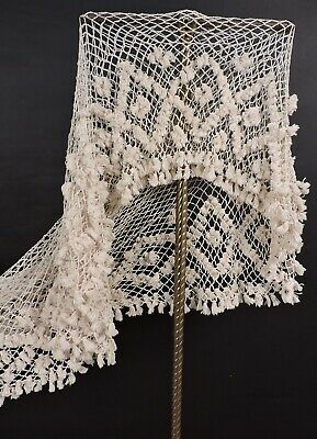 Victorian 19Th C Cotton Net Canopy Bed Cover With Tassel Trims