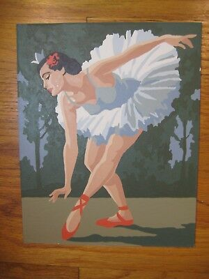 Ballerina Ballet Dancer Vintage Mid-Century Paint-by-Number Painting