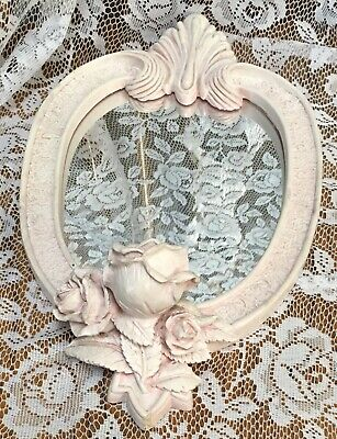 VINTAGE FRENCH PALE PINK CHIC ROSE,LEAVES OVAL MIRROR Candle Holder