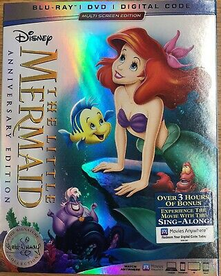 THE LITTLE MERMAID Anniversary Edition (Blu-ray+DVD+Digital),NEW, W/SLIPCOVER