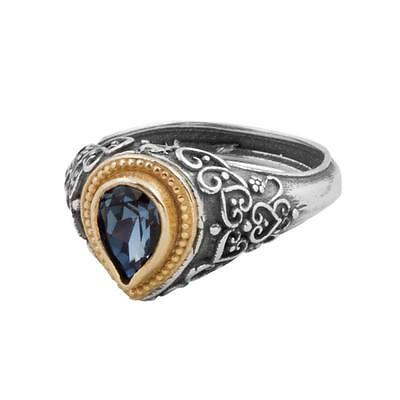 D288 - Sterling Silver & Swarovski Medieval Drop Ring