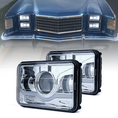 Pair 35W 4X6 Rectangle CREE LED Headlight High Low Beam Sealed Replacement Lamp
