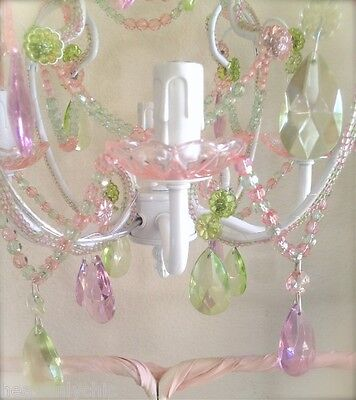 Shabby French Chic Beaded White Candelabra Ceiling Chandelier Pink Crystal Prism