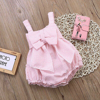 Newborn Kids Baby Girls Pink Ruffle Strap Romper Bodysuit Summer  Clothes Outfit