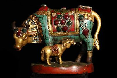 Chinese Antique Tibetan style old copper inlaid turquoise cattle Home decoration