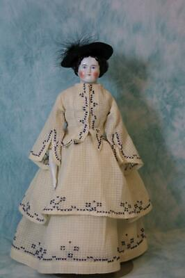15-inch Antique China head doll Germany 1860s Original body w china limbs Lovely