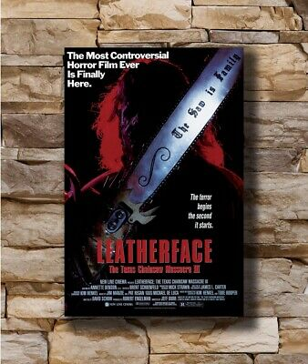 Hot LEATHERFACE- The TEXAS CHAINSAW MASSACRE III 3 Movie Horror Poster T-2819