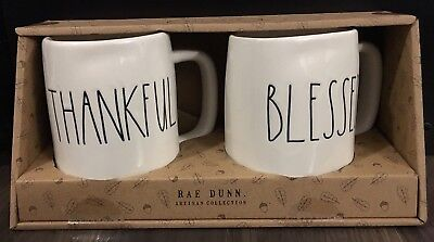 New Rae Dunn LL Thankful Blessed Mug Set Large Letter Thanksgiving 2018 HTF