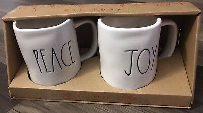 New Rae Dunn LL Peace Joy Mug Set Large Letter Christmas 2018 Xmas