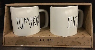 New Rae Dunn LL Pumpkin Spice Mug Set Large Letter Thanksgiving Fall 2018