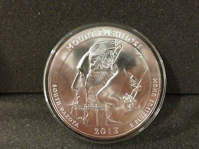2013 5 oz Silver ATB Mount Rushmore National Park, SD - (Flaw)