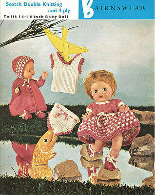 """Vintage Knitting Pattern Copy To Knit For 14-6"""" Dolls -6 Piece Outfit- Dk & 4Ply"""