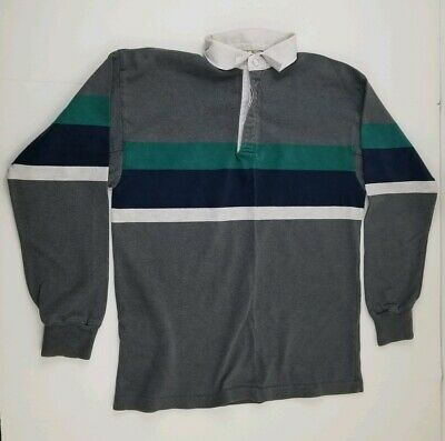 b1b1361d16b Vintage Made In The USA L.L Bean Striped Rugby Polo Long Sleeve Shirt Size M