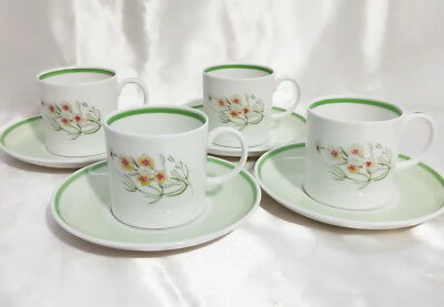🌟 Set Of 4 Duo Susie Cooper Green & Floral Tea Coffee Cups & Saucers