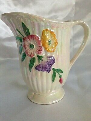 ♡ Exquisite Rainbow Lustre Jug With Raised Floral Purple Pink Yellow Flowers
