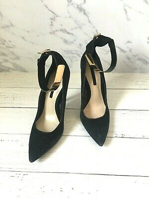 2c7a2949b5a Zara Black Suede High Heel Size 37 US 6.5 Women Ankle Gold Strap Shoes Heels