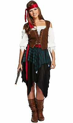 Pirate Costume Mens Ladies Caribbean Buccaneer Womens Fancy Party Dress Outfit