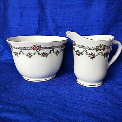 🌟 Art Deco Large Open Sugar Bowl & Creamer Jug Black On White With Rose Buds